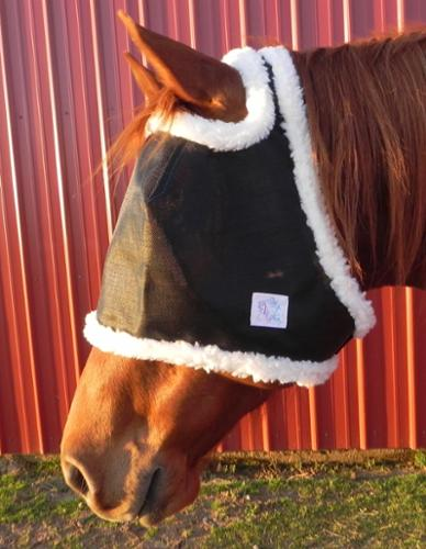 UV proof eye protection shade and fly mask with sheepskin.